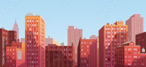 Fotografie, Obraz  Sunset cityscape. Vector illustration.