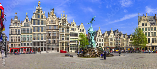 Photo Stands Antwerp Antwerpen, Belgium. square of old town