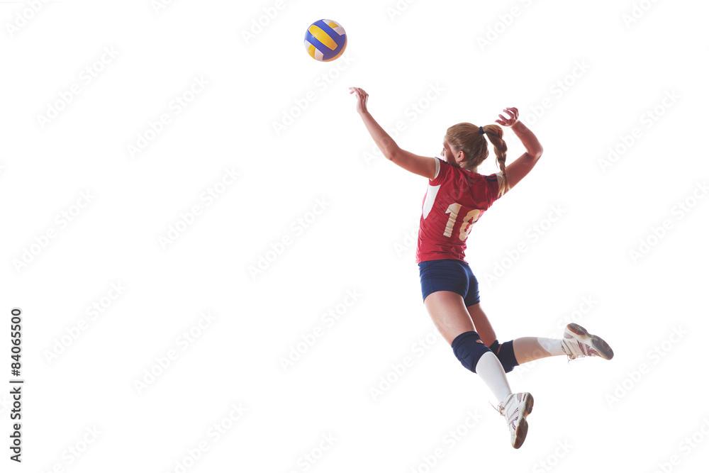 Volley-ball femme saut et kick ball isolé sur fond blanc Poster