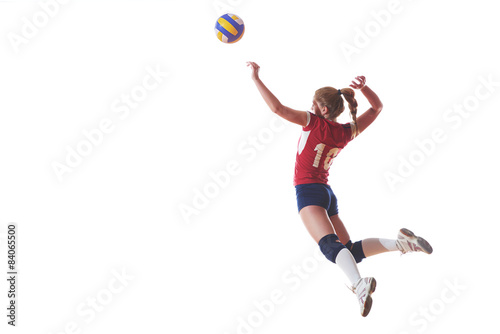 volleyball woman jump and kick ball isolated on white background Poster