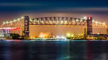 Goethals Bridge And Arthur Kill Lift Bridge By Night