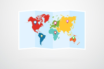 Fototapeta na wymiar World Map With Continents Border Vector And Map Pins