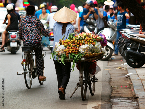 Street flower and fruits vendors