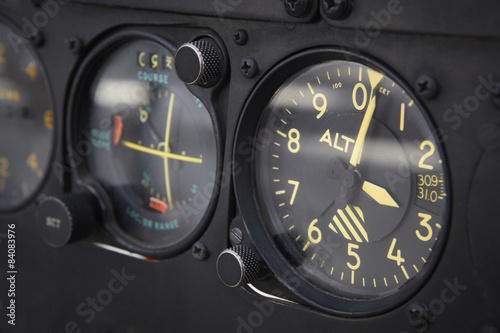 Dashboard altimeter detail of an airplane Wallpaper Mural
