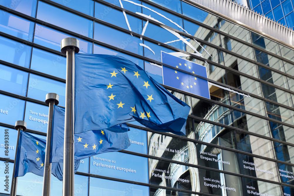 Fototapety, obrazy: European Union flag against European Parliament