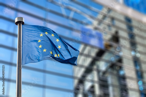 Obraz European Union flag against European Parliament - fototapety do salonu