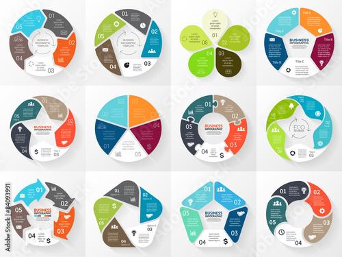 Obraz na płótnie Vector circle arrows infographic. Template for cycle diagram