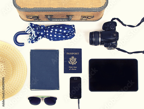 Fotografie, Obraz  collection of vacation travel items