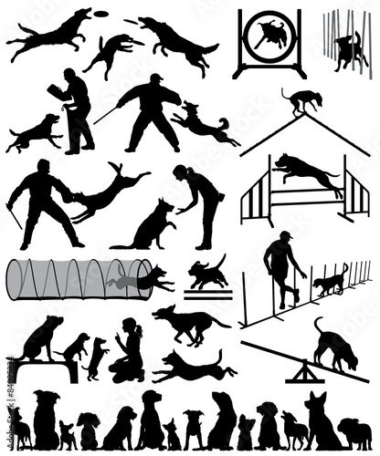 Photo Editable vector silhouette of dogs training