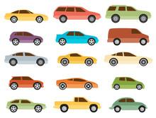 15 Cars Icon Set. Transportation. Vector Illustration