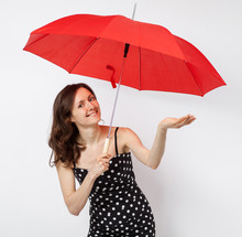 Pretty Young Woman In Dress With Open Umbrella