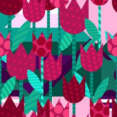 Fototapeta Do pokoju dziewczyny Vector creative floral seamless pattern. Flat illustration with