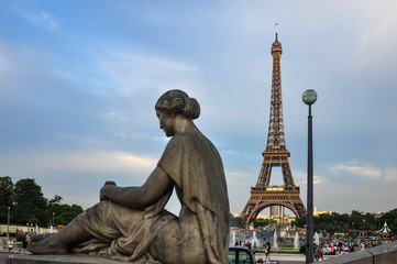 Fototapeta na wymiar The Eiffel Tower from Trocadero, Paris, France