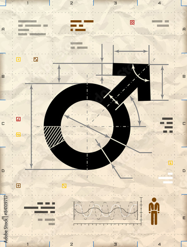 Male symbol as technical blueprint drawing on crumpled paper Canvas Print