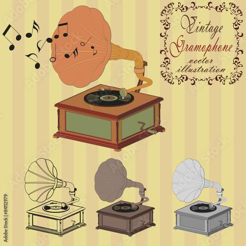 Fototapeta gramofon na tle w paski