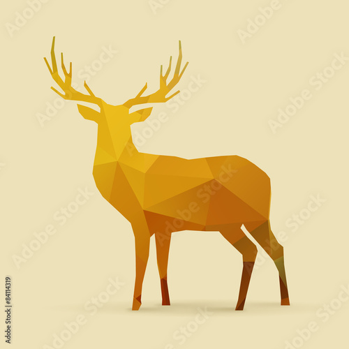 Fotografía  deer polygon golden silhouette