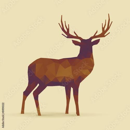 Fotografía  deer polygon orange purple silhouette