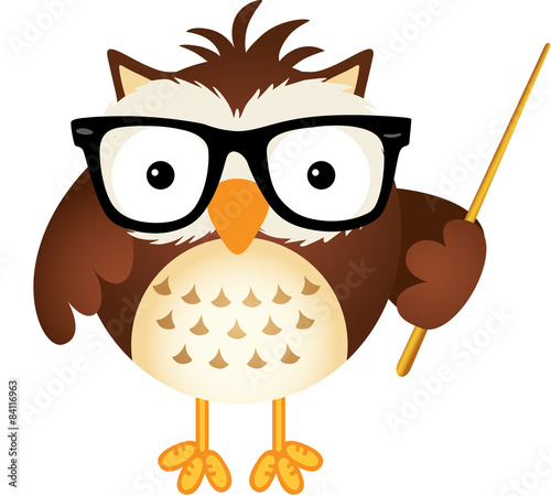 Deurstickers Uilen cartoon Teacher owl