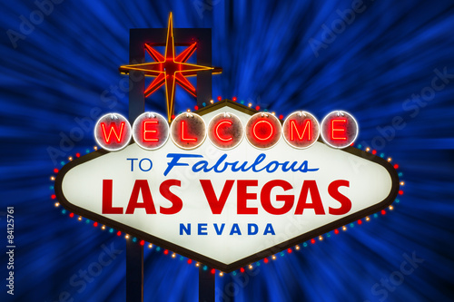 Photo  Welcome to fabulous Las Vegas neon sign at night