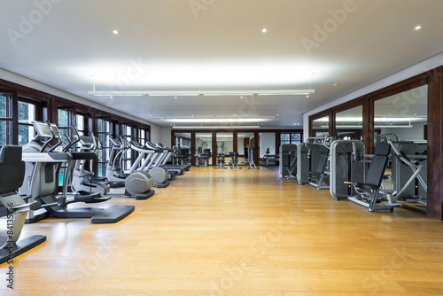 Fotobehang Fitness Fitness center interior. Gym