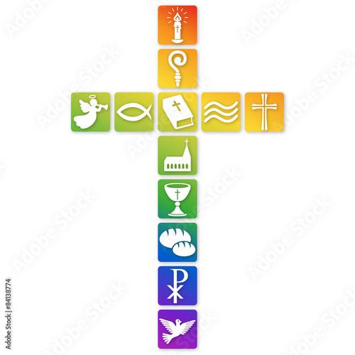 Kreuz Aus Bunten Christlichen Symbolen Vektor 2