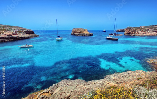 Blue lagoon in Malta on the island of Comino Canvas