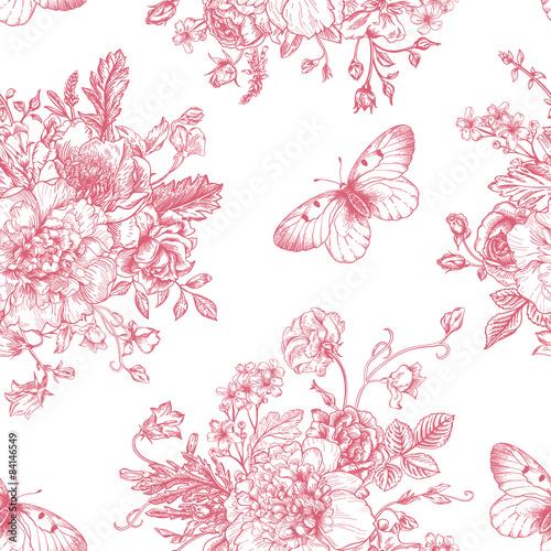 Foto-Tapete - Seamless  pattern  flowers and butterflies. (von Lisla)