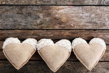 Vintage Hearts On Wooden Background