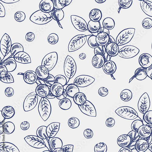 Fotografering seamless sketch blueberry