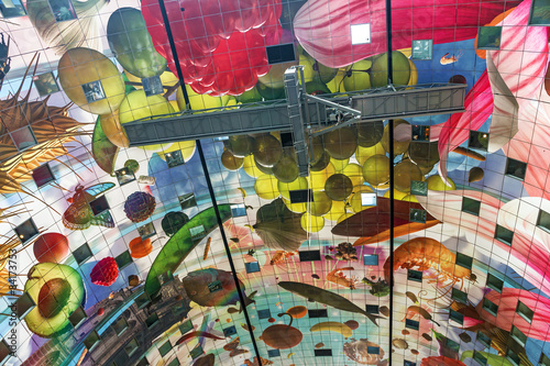 Colorful ceiling in Rotterdam market