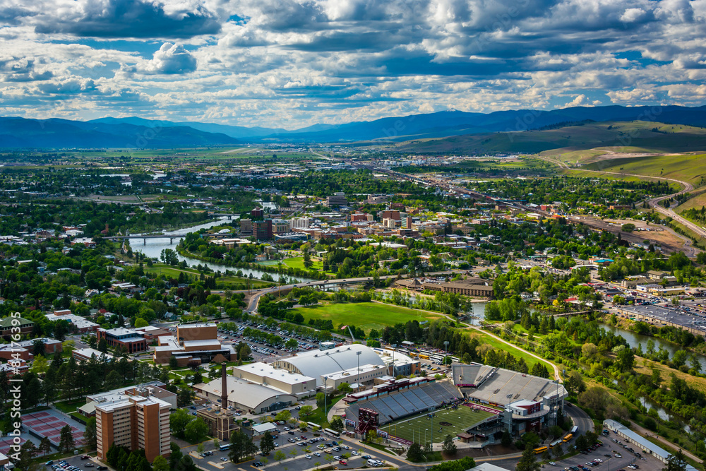 Fototapety, obrazy: View of Missoula from Mount Sentinel, in Missoula, Montana.