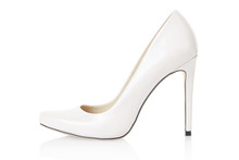 High Heel White Shoe Isolated On White, Clipping Path Included