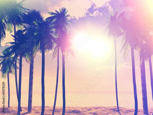 Printed kitchen splashbacks Beige Summer retro palm trees