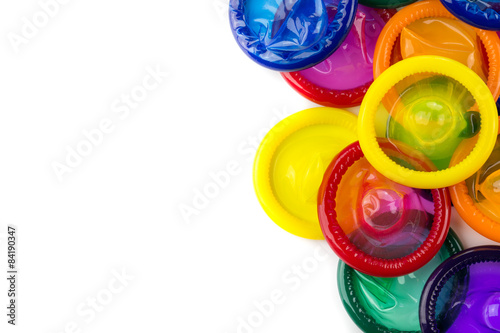 Cuadros en Lienzo colorful condom on white background