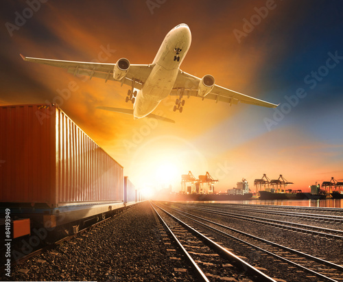 industry container trainst running on railways track plane cargo Wall mural