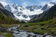 Gebirgsbach vom Gletscher in einem Hochtal der tiroler Alpen