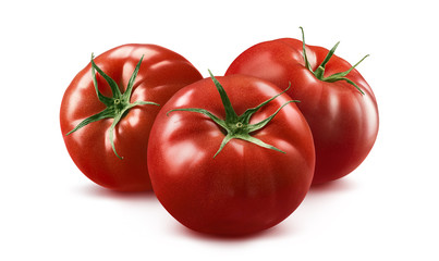3 tomato horizontal composition isolated on white background