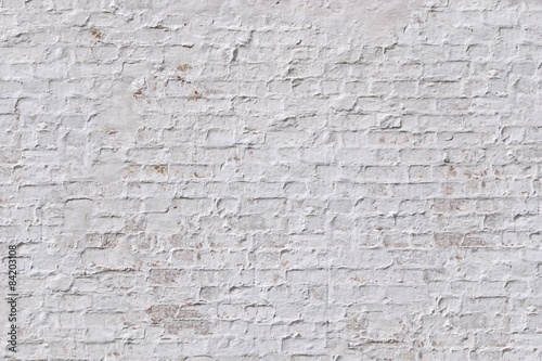 Poster Baksteen muur White grunge brick wall background