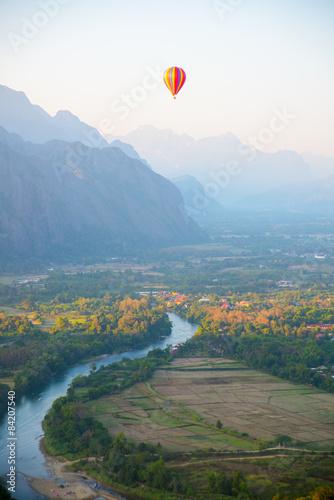 Poster Balloon Colorful hot air balloon in the sky.Laos.