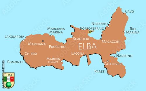 Fotomural Map of Italian isle of Elba