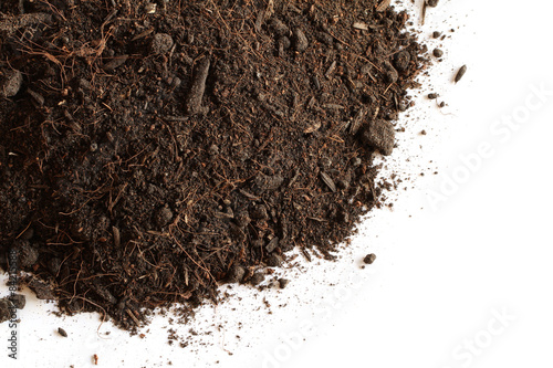 Fotografía  Peat soil isolated on white background