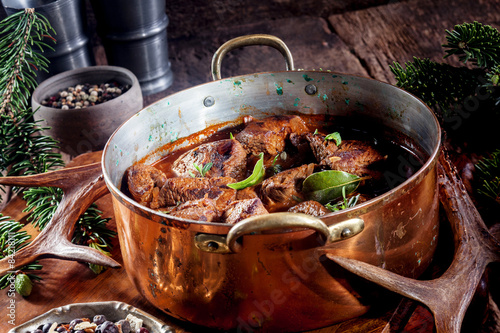 Poster Chasse Pot of Venison Goulash Seasoned with Fresh Herbs
