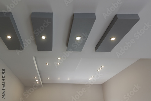 Modern layed ceiling with embedded lights