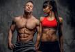 Bodybuilders couple in underwear.