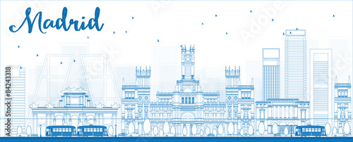 Foto  Outline Madrid Skyline with blue buildings.