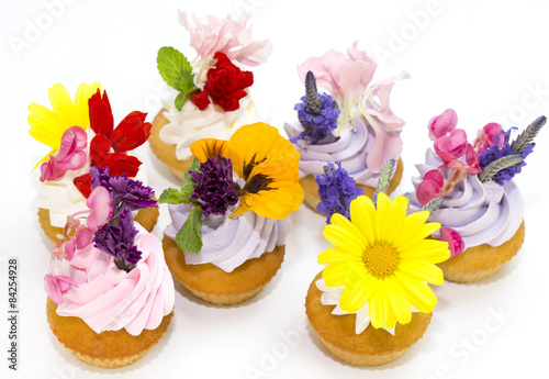 Fototapety, obrazy: canaps with edible flowers meat cheese and seafood