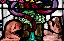 Adam And Eve In Paradise (stained Glass Window)