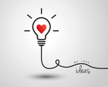Light Bulb With Heart As Idea And Inspiration Concept