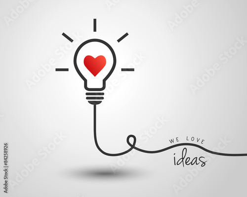 Tablou Canvas Light bulb with heart as idea and inspiration concept