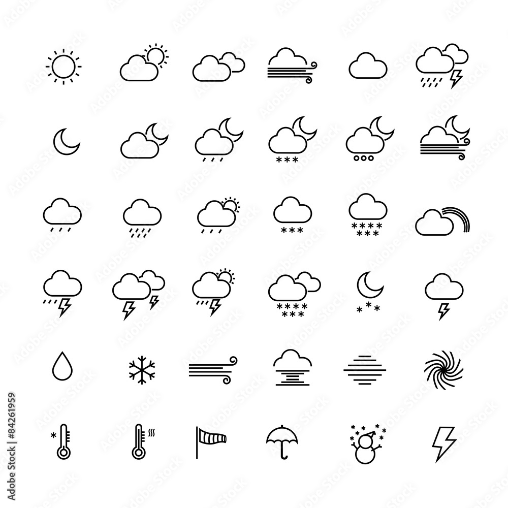 Fototapety, obrazy: Collection of weather line icons on white background. Vector ill